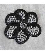 Fabulous Crystal & Black Rhinestone Flower Brooch 1990s vintage - $14.80
