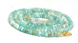 "Natural Larimar Gemstone 3-4mm Rondelle Faceted Beads 18"" Long Beaded Ne... - $31.31"