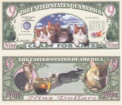 100 Cat Crazy for Cats $ 9 Novelty Money Bills Lot - $19.79