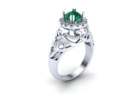 Skull Engagement Ring in Silver and Dragon Plat... - $239.00