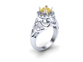 Skull Engagement Ring Yellow Sapphire Temple of... - $279.00