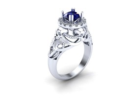 Skull Engagement Ring in Silver and Dragon Plat... - $279.00