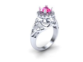 Skull Engagement Ring Temple of the Ancient Dra... - $279.00