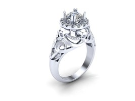 Skull Engagement Ring in 10 k Gold with Created... - $899.00