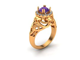 Skull Engagement Ring in 10 k Gold with Created... - $799.00