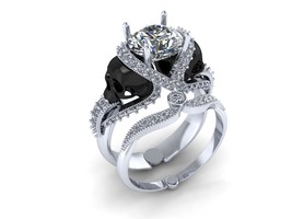 Skull Engagement Ring in Solid 18 k White Moiss... - $3,895.00