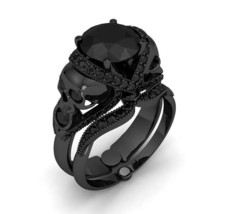 10 K Black Gold Skull Engagement Ring with Blac... - $799.00
