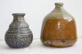 Pair of Vintage Handmade in Israel Signed by Artist Small Ceramic Potter... - $29.69
