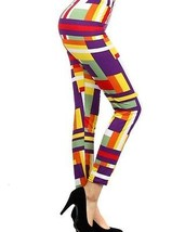 Women's Purple Multi-color Color Block Leggings Poly / Spandex, Striped - $13.50