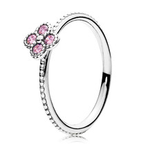 925 Sterling Silver Oriental Blossom Ring with Pink Zirconia For Women QJCB945 - $21.99