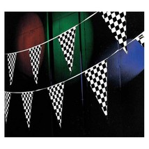 100' Pennant Flag Banners Black White Checkered Nascar Race Car Party De... - $8.59