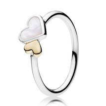 925 Sterling Silver & 14K Gold Luminous Hearts Ring For Women QJCB943 - $27.88