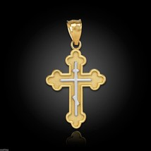 Gold Russian Eastern Orthodox Cross Charm Pendant (Yellow, White, Rose) - $69.99+