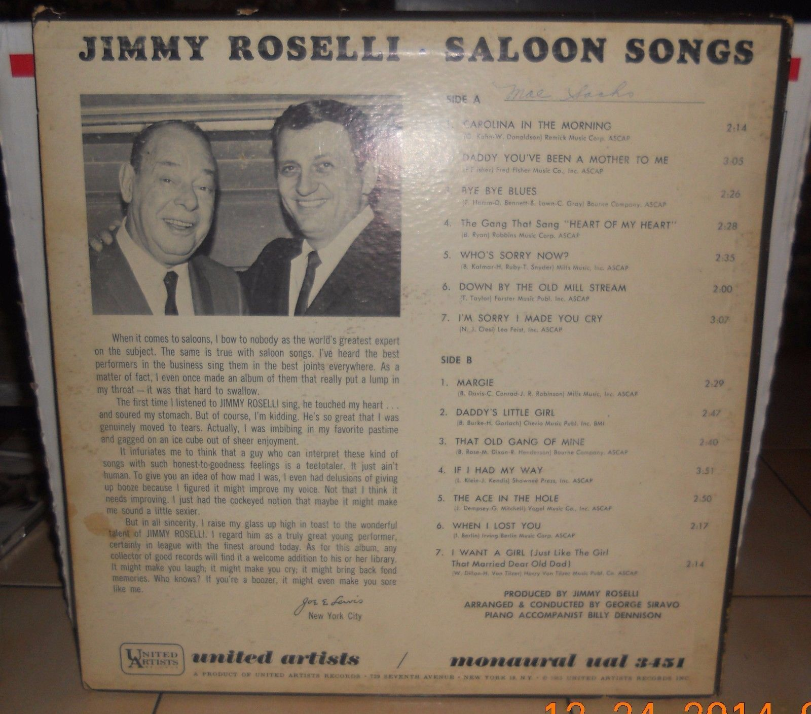 Jimmy Roselli Saloon Songs UAL 3451 LP Record United Artists