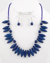 Fashion Necklace Earring Set Silver Tone Blue Glass And Ceramic Beads N2 - $18.99