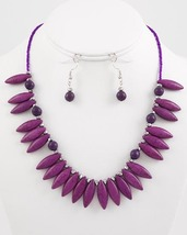 Fashion Necklace Earring Set Silver Tone Purple Glass And Ceramic Beads N1 - $18.99
