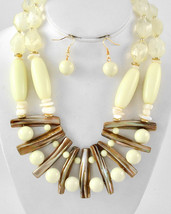 Chunky Bib Statement Necklace Earring Set Gold Tone Brown And Cream N4 - $25.50