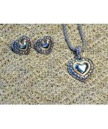 Cookie Lee Two-Tone Scrolled Heart Necklace & Earrings Set - New! - $17.00