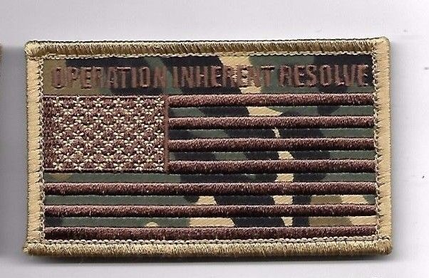 Primary image for OPERATION INHERENT RESOLVE DESERT CAMO FLAG  2 X 3  EMBROIDERED PATCH HOOK LOOP