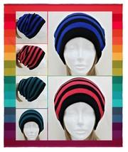 Unisex Neon Striped Knit Open Slouchy Beanie Cap / Neck Warmer - $8.50