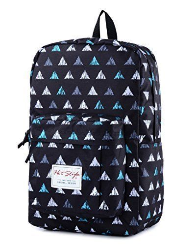 Back To School Backpack Bookbag Triangle Pattern 15 inch Laptop Travel Day Pack