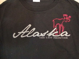 Alaska The Last Frontier Outdoors Vacation Nature Elk Black T Shirt S - $17.17