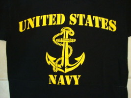 Bayside United States Navy Military Support Patriotic Black T Shirt S - $17.17