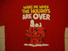 "Peanuts Snoopy ""Wake Me When the Holidays are Over"" Red T Shirt XL - $17.17"
