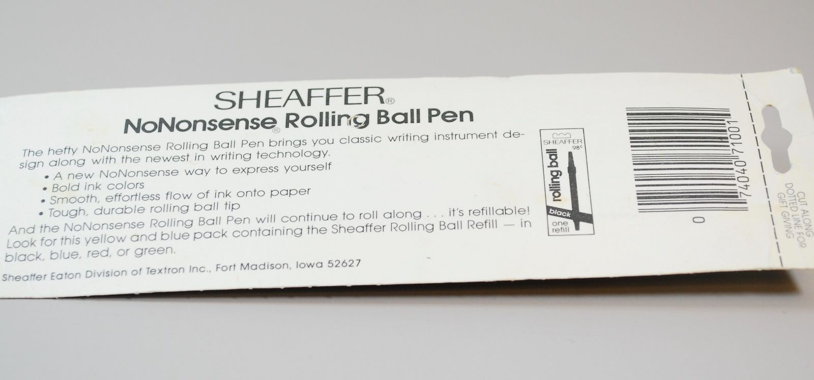 NEW Sheaffer No-Nonsense Rolling Ball Pen - Refillable  - New in Package - Red