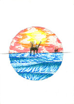 Oil Rig At Sunset - Marker drawing by Brian Lea... - $65.00