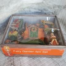 Fall Fairy Garden Set, Pumpkin Fairy House, Tiny Gnome Hut, Autumn Fairy Decor image 4