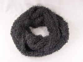 Black soft fluffy eyelash faux fur circle infinity endless loop scarf cowl - £17.78 GBP