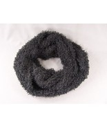 Black soft fluffy eyelash faux fur circle infinity endless loop scarf cowl - $23.75