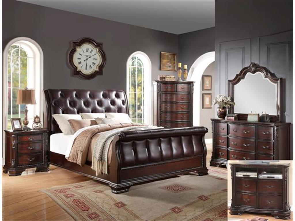 Crown Mark RB1150 Sheffield Sleigh Queen Size Bedroom Set 5pc. Traditional Style