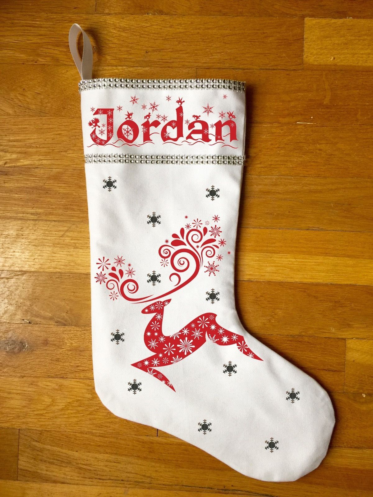 Reindeer Christmas Stocking - Personalized Nordic Inspired Christmas Stocking