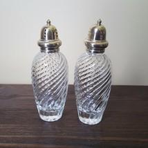 Vintage 1970s Glass Brass Top Salt and Pepper Shaker Set Made in Japan - $24.74