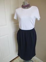 Navy Basic Skirt Knee Length Elastic Waist No slits Modest skirt dark navy - $7.99