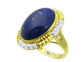 14k Yellow Gold Lapis And Diamond Ring - $1,038.00