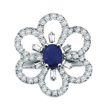 18k White Gold Diamond And Sapphire Flower Ring 0.85 ct - $1,510.00