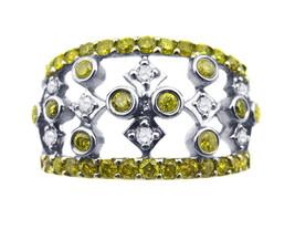 14k White Gold With Yellow And White  Diamonds Open Design Ring 1.00 ct - $990.00