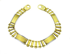 14k Two Tone Gold Link Design Bracelet - $1,355.00