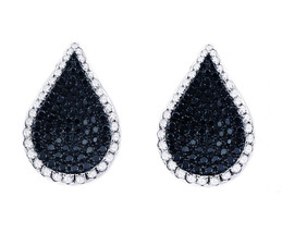 18k White Gold Black and White Diamond Teardrop Earrings With Push Backs 1.60 ct - $2,465.00
