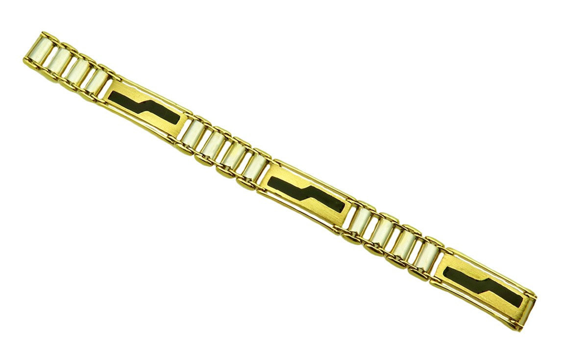 Black Onyx And Two Tone Men's 14k Bracelet image 1