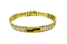 Black Onyx And Two Tone Men's 14k Bracelet image 2