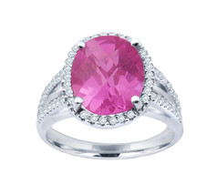 14k White Gold Pink And Diamond Split Shank Ring - $675.00