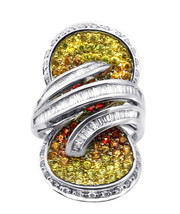 18k White Gold Multi-Color Sapphires With Diamond Infinity Sign Cocktail... - $1,560.00