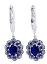14K White Gold Diamond, Tanzinite And Sapphire Earrings - $1,245.00