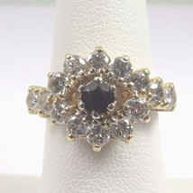 14k Yellow Gold Women's Diamond Cocktail Ring With Garnet January Births... - $699.00