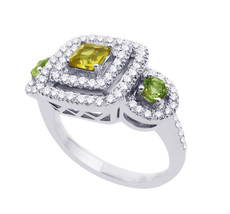 14k White Gold Diamond Three Stone Cintrine And Peridot Ring - $1,610.00