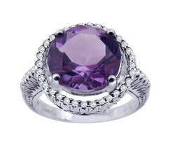 14K White Gold Diamond And Round Halo Amethyst Women's Ring - $545.00